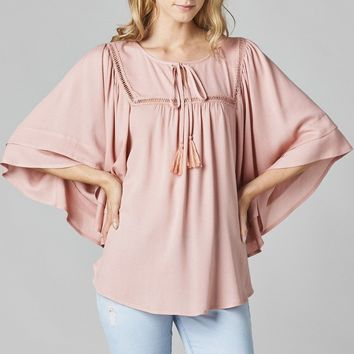 Lace Trim Dolman Sleeve Peasant Top - Mauve