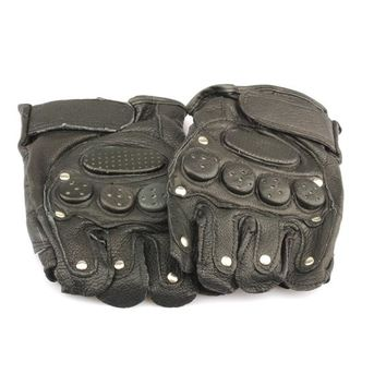 Black Mitten Gloves Authentic Leather Glove For Motorbike Driving