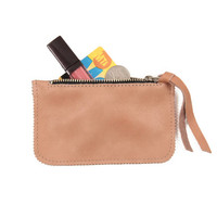 Peach leather coin purse, small leather wallet, leather pouch by Leah Lerner