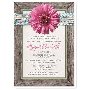 Pink Gerbera Daisy Adoption Announcements - Girl - Rustic Chic Floral Southern Country Wood Frame Turquoise Twine - Printed Invitations
