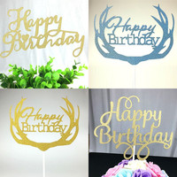 1pc DIY Cupcake Cake Topper Multi-Shape Happy Birthday Cake Flags For Family Kids Birthday Party Cake Baking Decoration Supplies