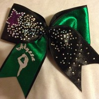 Green and Black with GLITZ and Embroidered - Personalized [Embroidered] - $50.00 : GLITZ Cheer BowZ, Custom Products From Your Head To Your Toes