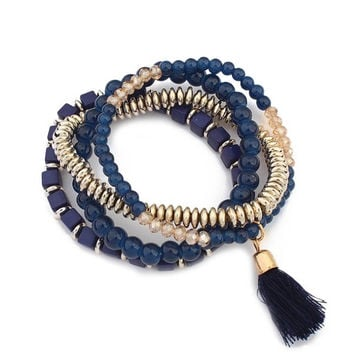 New Retro Bracelet Bohemian Beaded Tassel Multilayer Stylish Bracelet Pendant (Color: Navy blue) = 1928719748