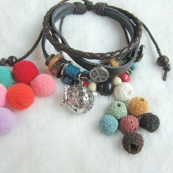 Handmade Multi Bead Charms DIY Lava Bead and Felt Balls Essential Oil Diffuser Locket Pendant Leather Bracelet