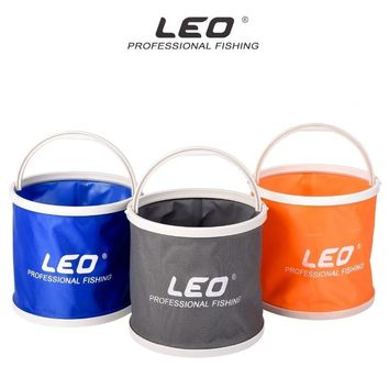 LEO Canvas Bucket Plastic Bottom Camping Hiking Fishing Tool Portable Folding Bucket Fishing Tackle Barrel in Zipped Storage Bag