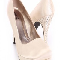 Nude Round Closed Toe Faceted Beaded Heels Satin