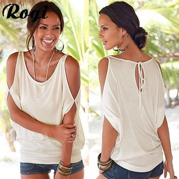 Rogi Blusas Women 2017 Summer Sexy Off Shoulder Ladies Tops Casual Round Neck Batwing Half Sleeve Solid Blouse Shirt Beach Tunic