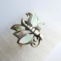 Vintage Abalone Ring - Sterling Silver Butterfly Ring Size 6.5
