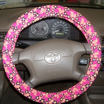 Pink and Bold Flower Steering Wheel Cover