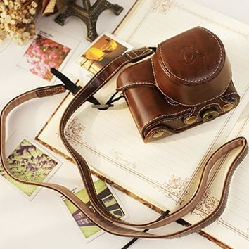 PU Leather Camera Case Cover for Sony A6000 With Strap High Quality