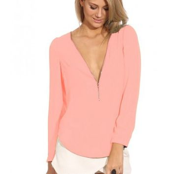 Plain Zip Front Sleeve Shirt