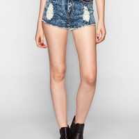 Almost Famous Crave Fame Womens Acid Wash High Rise Denim Shorts Acid Wash  In Sizes