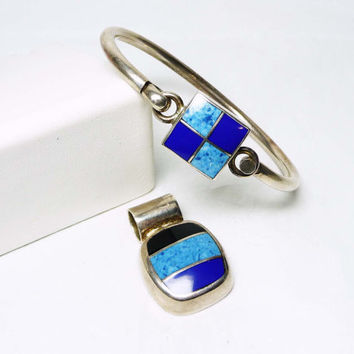 Sterling Silver Bracelet & Pendant Set - Shades of Royal Blue Abstract Squares and Stripes - Mexico 925 ATI