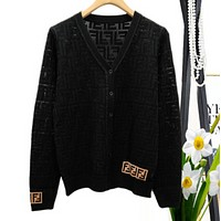 Fendi Autumn And Winter High Quality New Fashion More Letter Knit Long Sleeve Cardigan Coat  Black