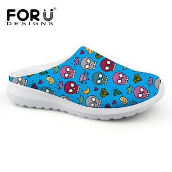 FORUDESIGNS Colorful Mens Summer Slippers Cartoon Skull Printed Mesh Flats Male Beach Casual Water Shoes Men Breathable Sandals