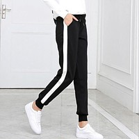 2018 Spring and summer Women Casual Sweatpants black White Striped Printed Side Pant Ladies Loose Trousers Joggers Sweat Pants