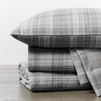 Mid Gray Plaid Cloud Brushed Organic Flannel Sheet Sets by Coyuchi