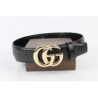 * GUCCI * 2017 Black Studded Leather Gold GG Buckle Belt Men's 90/36