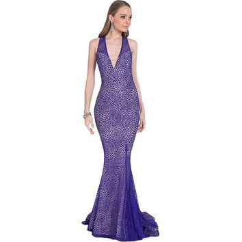 Terani Couture Lace Rhinestone Formal Dress