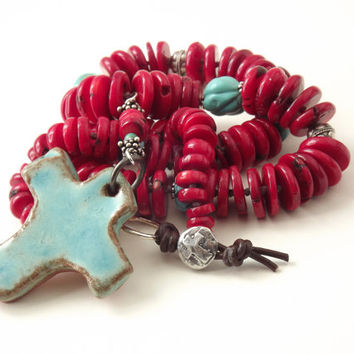 Boho western knot necklace coral and turquoise necklace pottery cross necklace Native American style necklace boho knot jewelry cowgirl chic