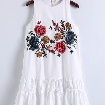 White Floral Embroidered Sleeveless Keyhole Back A-Line Dress