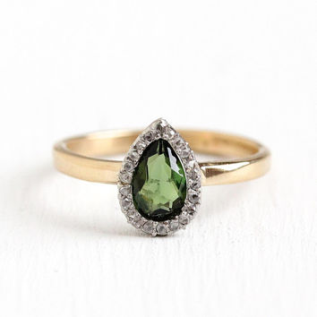 Green Tourmaline Ring - 14k Gold Vintage Size 7 Diamond Halo Green Gemstone - Early 1900s Edwardian Fine Alternative Engagement Pear Jewelry