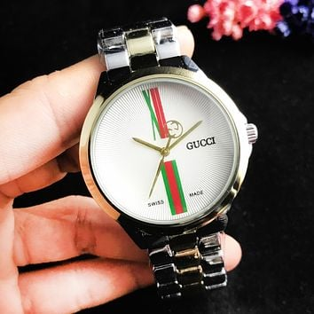 GUCCI Fashion New Dial Letter Stripe Couple Business Casual Wristwatch Watch