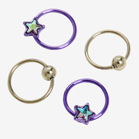 Steel Purple Star & CZ Captive Hoop 4 Pack