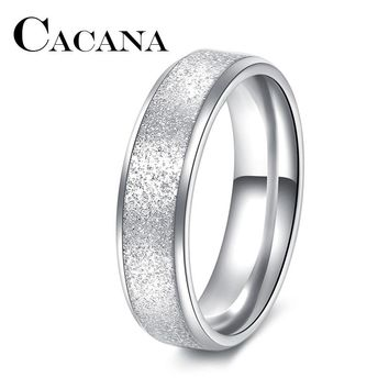 CACANA Titanium Fashion Simple Ring Female Fashion Stainless Steel Ring Colour Scrub Rings 316L Stainless Steel Rings For Women