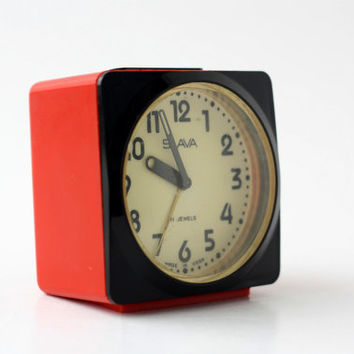 Vintage SLAVA Mechanical Alarm Clock / 11 Jewels Small Soviet Space Age Plastic Manual Winding Clock - Russia - 70s