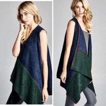 Faux Suede Colorblock Vest