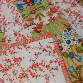 Patchwork Baby Quilt Wall Hanging  Woodland Bloom Fabrics by Lila Tueller for Moda