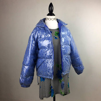 90's See Through Clear Vinyl Periwinkle Blue Feather Filled Puffer Bubble Jacket L