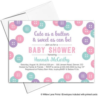 Cute as a button baby shower invitation for girls | pink purple mint baby shower invites girl | unique printable or printed - WLP00717