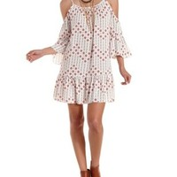 Ivory Combo Printed Cold Shoulder Peasant Dress by Charlotte Russe