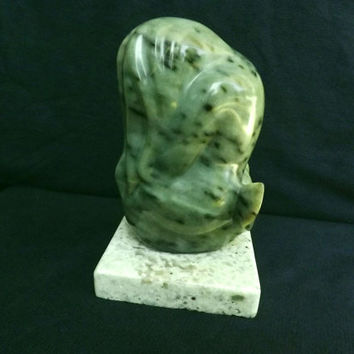 "Stone sculpture green soapstone small size figurine carving "" Shy Mermaid"" on granite base original hand carved signed by carver,"