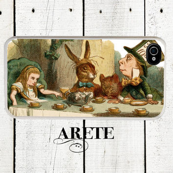 Alice in Wonderland iPhone case, Mad Hatter Tea Party in Color, fits iPhone 4, 4s - iPhone 5 Case - Gifts Under 25