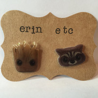Handmade Plastic Fandom Earrings - Comic Book - Rocket Raccoon & Groot
