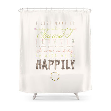 Society6 One Direction: Happily Shower Curtains