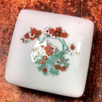 Asian Cherry blossom tree trinket box. Hand painted with gold, green, red, orange colors.