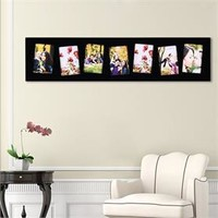 "Adeco PF9109 7 Openings 4""x6"" Picture Frame - Wood Photo Collage Decoration for Wall Hanging - Black"