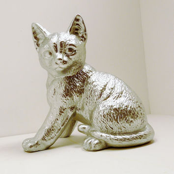 silver cat figurine // pop art upcycled home decor by nashpop