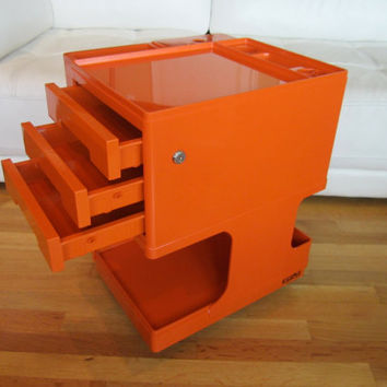 ORANGE Mid Century Modern NEOLT STILE Tabouret Trolley Cart Cabinet Designed by Giovanni Pelis