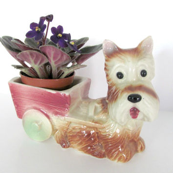 Vintage Dog, Terrier Planter, 1960's Ceramic Dog Pulling Cart Planter, Dog Figurine, Mid Century Decor