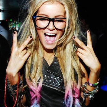 Blonde Ombre, Blonde hair extensions dipped in purple haze and pink, Lauren Conrad, Dip Dye, 7 Pieces, 18""