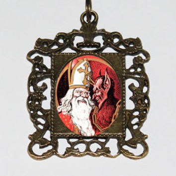 Krampus Necklace, Spooky Christmas, Horror Jewelry, Christmas Necklace, Rectangle Pendant