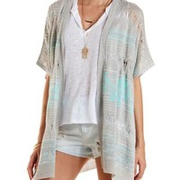 Pointelle Poncho Cardigan Sweater by Charlotte Russe