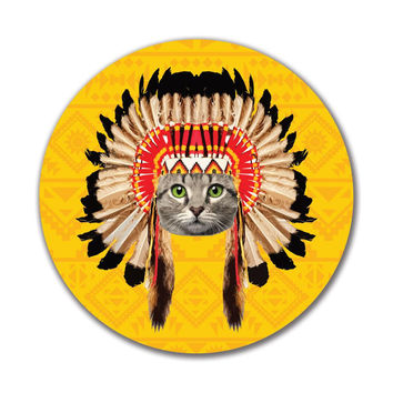 Thanksgiving Funny Cat Native American LF 4in. Round Decal Sticker