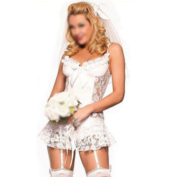 White bridal Sexy lingerie Lingerie + garter + T pants + Hair accessories cosplay erotic lingerie sexy costumes for women