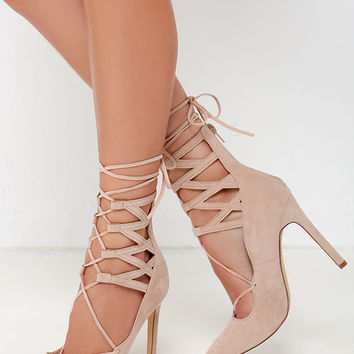 LULUS Kylie Nude Suede Lace-Up Heels